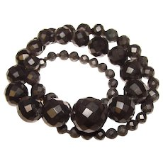 Antique Whitby Jet Bead Necklace - Sterling Clasp - Mourning Jewelry