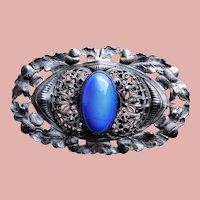 Fabulous Antique Acorn Blue Stone Sash Pin Brooch - Figural Edge Design