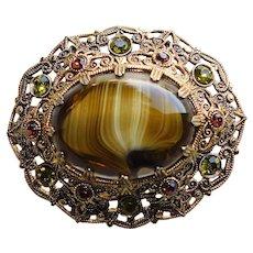Fabulous West Germany Art Glass & Rhinestone Vintage Brooch