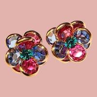 Fabulous Bezel Edge Set Colored CRYSTAL CLUSTER Vintage Earrings