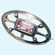 """Small Antique PURPLE GLASS Mini Sash Pin Brooch - 1 1/8"""" by 5/8"""" - For Your Doll or Lapel"""