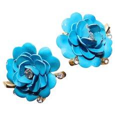 Fabulous TRIFARI Blue Enamel & Rhinestone Flower Power Earrings