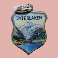 800 Silver & Enamel INTERLAKEN Charm - Souvenir of Switzerland - Travel Shield