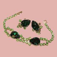 Fabulous GREEN RHINESTONE Vintage Bracelet Set