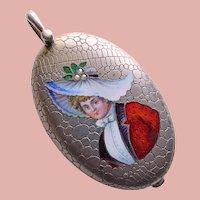 Fabulous Antique Victorian Sterling Silver LADY IN HAT Enameled Locket Pendant