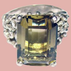 Fabulous STERLING Smoky Quartz Modernist Design Ring
