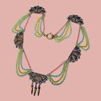 Fabulous FESTOON STYLE Color Chain & Filigree Vintage Necklace