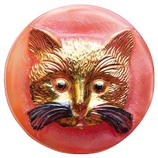 Adorable CAT FACE Vintage Glass Button