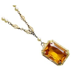 Gorgeous ART DECO Amber Glass Stone Necklace