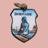 Goldtone Enamel DENMARK Danmark Vintage Charm - The Little Mermaid - Souvenir Danish Travel Shield