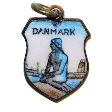 Goldtone Enamel DENMARK Danmark Vintage Charm - The Little Mermaid - Souvenir Danish Travel Shield