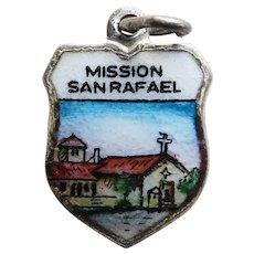 Silvertone Mission SAN RAFAEL Enamel Vintage Charm - Travel Shield - Souvenir of California