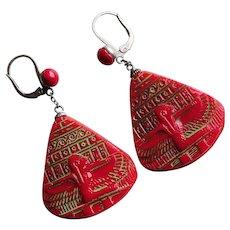 Fabulous EGYPTIAN REVIVAL Art Deco Red Glass Neiger Earrings - Winged Goddess Isis - Pierced Leverback