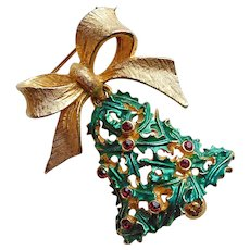 Festive MYLU Christmas Holly Bell Brooch