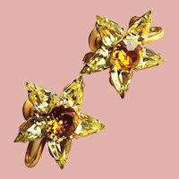 Gorgeous STAR SHAPED Amber & Yellow Rhinestone Earrings - Screw Backs