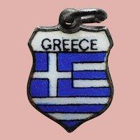 800 Silver & Enamel GREECE Charm - Souvenir Travel Shield