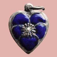 Fabulous STERLING & ENAMEL Pansy Heart Charm - Dark Blue