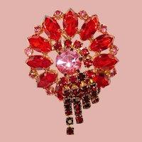 Fabulous RED & PINK Rhinestone Vintage Pin Brooch