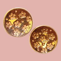 Gorgeous SPERRY Signed Flower Pattern Vintage Clip Earrings