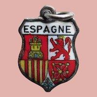 800 Silver & Enamel SPAIN Charm - Souvenir Travel Shield