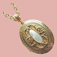 Gorgeous WHITING DAVIS Mother of Pearl Locket Pendant Necklace - Large Size
