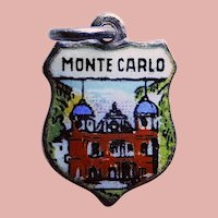 800 Silver & Enamel MONTE CARLO Charm - Souvenir of Monaco - French Riviera - Travel Shield