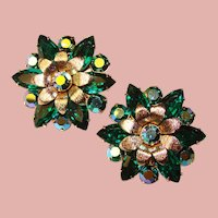 Fabulous Green & Green Aurora Rhinestone Vintage Clip Earrings