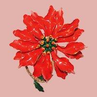 Awesome POINSETTIA Enamel Flower Power 1960s Vintage Brooch