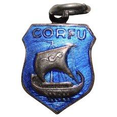 Silvertone CORFU Enamel Vintage Charm - Souvenir of Greece - Travel Shield