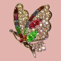 Gorgeous BUTTERFLY Vintage Multi Color Rhinestone Brooch