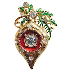 Gorgeous Christmas Ornament Vintage Brooch