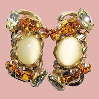 Gorgeous KOFIN Amber Yellow Rhinestone Earrings