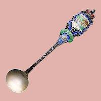 Antique Sterling & Enamel Master Salt Spoon - Souvenir of Canada