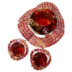 Fabulous RED AURORA Rhinestone Givre Glass Vintage Brooch Set