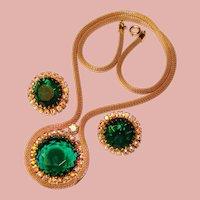 Fabulous GREEN & AURORA Rhinestone Vintage Necklace Set