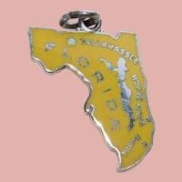 Sterling & Enamel FLORIDA Vintage Charm - State Souvenir