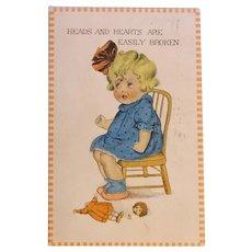 Antique Broken Doll & Crying Girl Postcard - Circa 1913