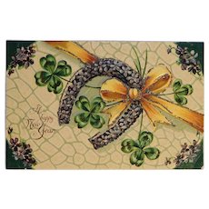 Antique Happy New Year Postcard - Lucky Horse Shoe Four Leaf Clover Shamrock