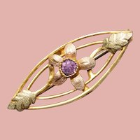 """Tiny Antique Purple Stone Mini Brooch - 1"""" by 3/8"""" Doll Sized"""