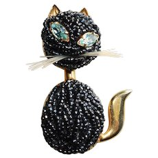 Awesome CAT Beaded Belly & Face Vintage Brooch - Trombone Clasp - Figural