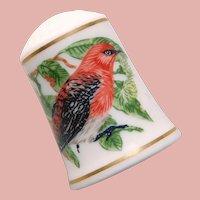 Vintage SONGBIRDS Bird Porcelain Estate Thimble