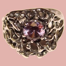 Fabulous STERLING & Purple Stone Vintage Ring - Modernist Brutalist Abstract
