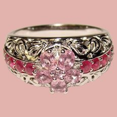 Fabulous STERLING Pink & Red Stones Ring