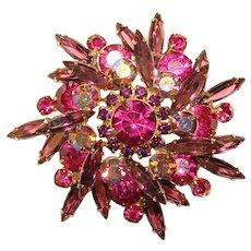 Fabulous D&E JULIANA Purple & Pink Rhinestone Vintage Brooch