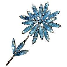 Gorgeous Blue Rhinestone Flower Vintage Brooch