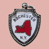Sterling & Enamel ROCHESTER Vintage Charm - Souvenir of New York - Travel Shield