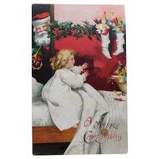 Antique Circa 1908 SANTA SURPRISES GIRL Christmas Postcard - Dolls in Stockings