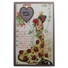 Antique Tuck's ZODIAC VALENTINE Cancer Postcard - June - Series no. 128