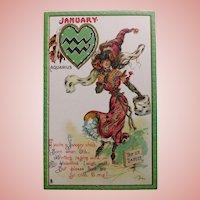 Antique Tuck's ZODIAC VALENTINE Aquarius  Postcard - January - Series no. 128