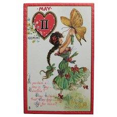 Antique Tuck's ZODIAC VALENTINE Gemini  Postcard - May - Series no. 128